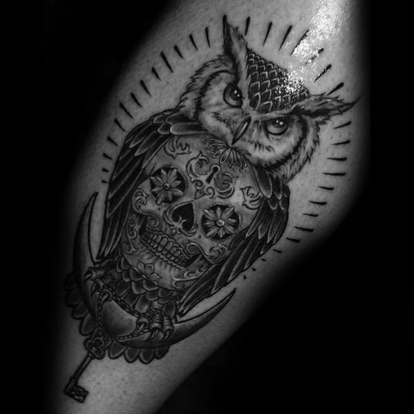 Guy With Owl Skull Tattoo Design