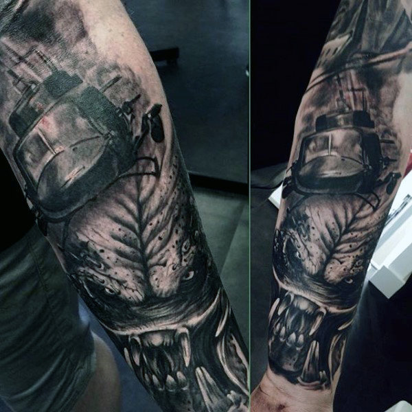 Underarm Sleeves Alien Vs Predator Themed Mens Tattoos