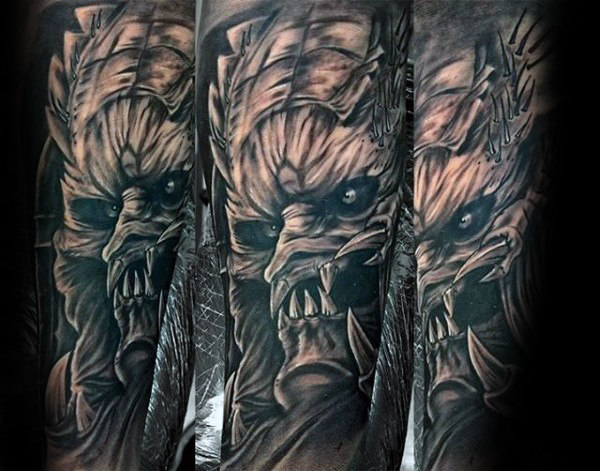 Full Sleeve Angry Alien Vs Predator Mens Tattoo Design Inspiration
