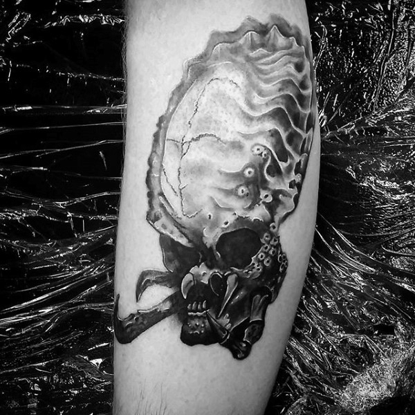 Alien Vs Predator Head Mens Leg Tattoo