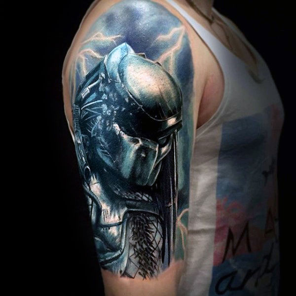 Half Sleeve Electricm Male Predator Tattoo Designs