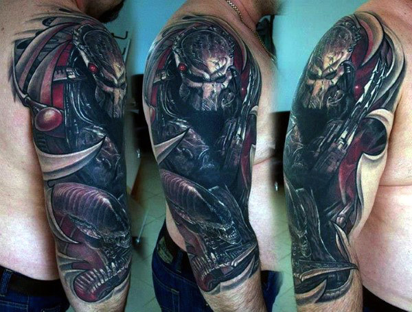 Half Sleeve Manly Guys Alien Vs Predator Tatoveringer