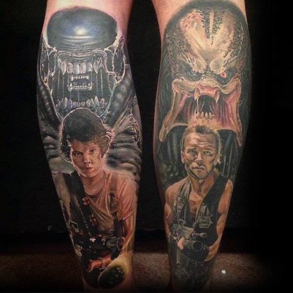 Cool Alien Vs Predator Tegn fra Movie Mens Leg Sleeve Tatoveringer