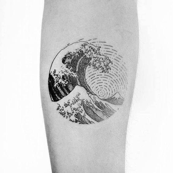 Manly Small Unique The Great Wave Circle Men's Inner Throat Tattoo