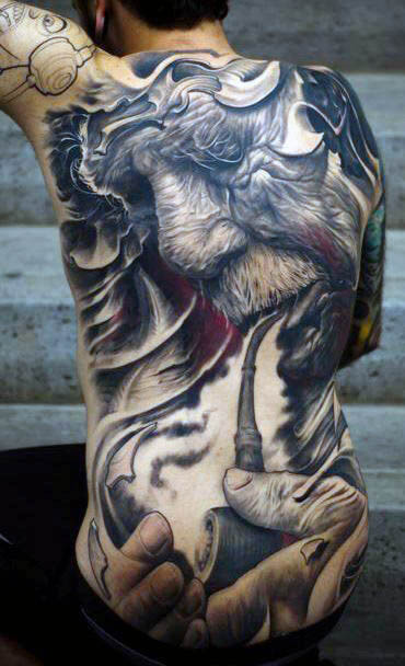 Terug Japanse Tattoo Smoke Men