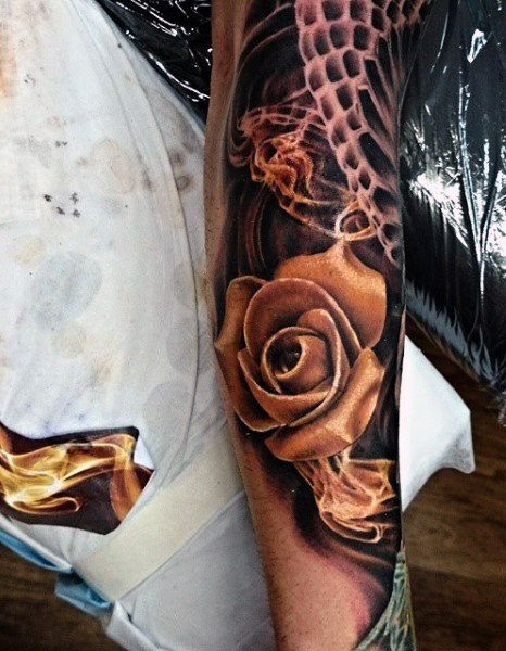 Man Smoke Rose Tattoo Designs