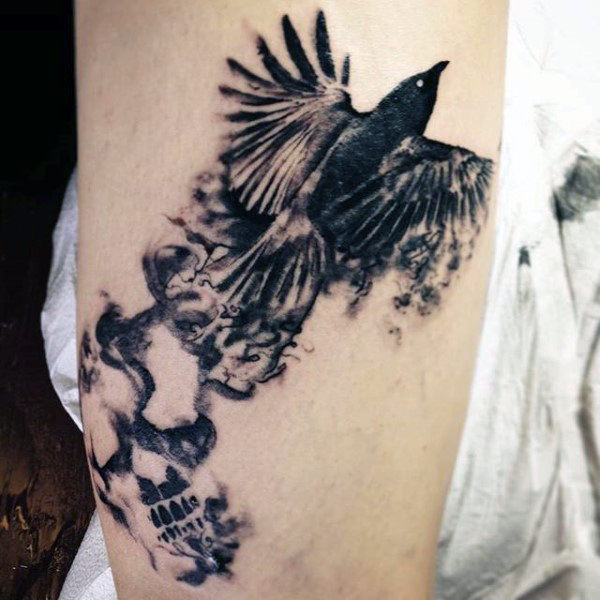 Kerel's Smoke Sleeve Tattoo Of Flying Bird