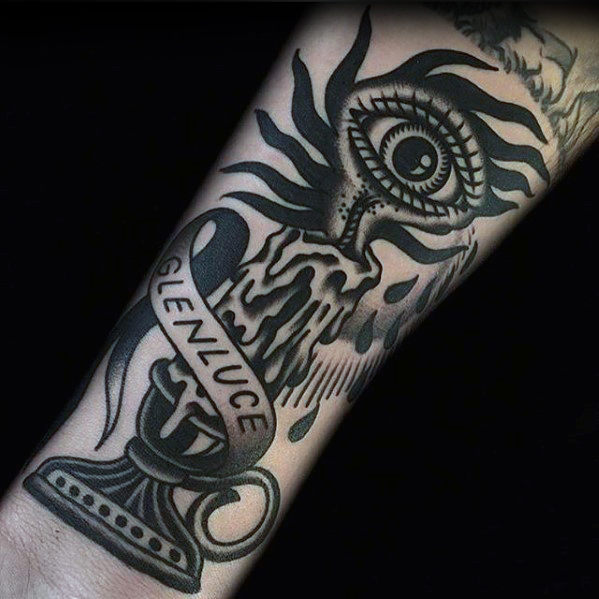 Old School Traditional Eye With Candle Man Arm Tattoos