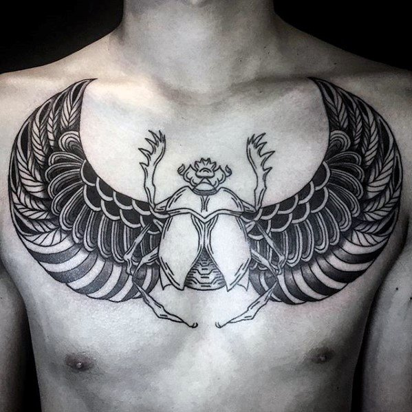 Mens Unique Chest Egyptian Bettle Tattoo 디자인