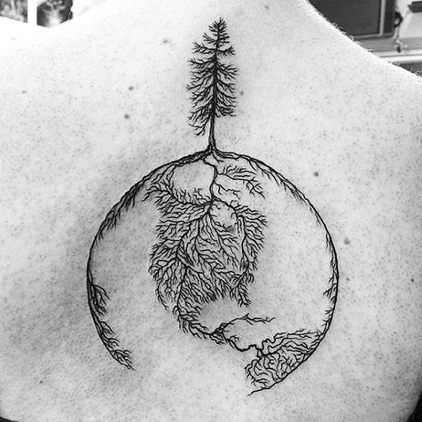 Root Tree Globe Upper Back Tattoo Design Forguys