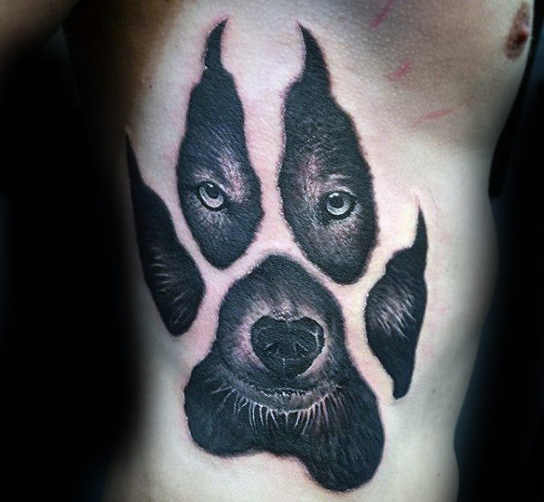 리브 케이지 Side Wolf Paw Mens Tattoo Designs