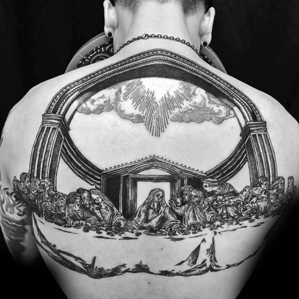 Awesome Back 3d Jesus Tattoos For Men