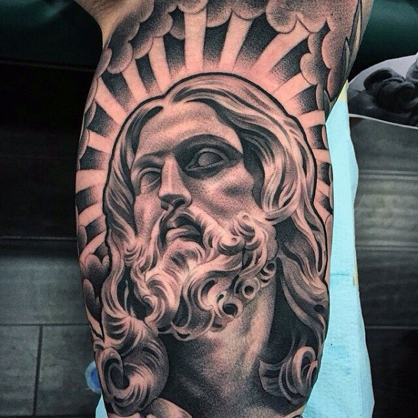 Remarkable Chicano Style Arm 3d Jesus Tattoos For Men