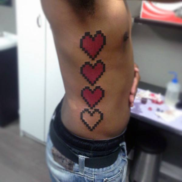 Rib Cage Side 8 Bit Hearts Tattoo Ideas For Men