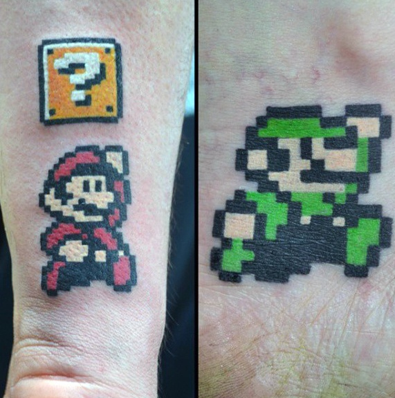 Awesome 8 Bit Mario Brothers Mens Underarm Tatoveringer