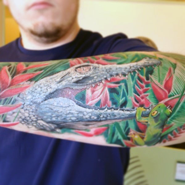 Forest Alligator Tattoo Männer Ärmel