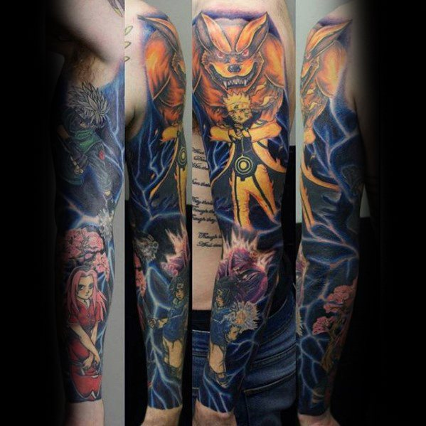Manly Anime Full Arm Sleeve Tattoo Design Ideeën voor mannen