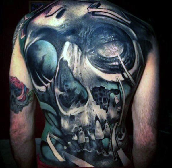 Cool masculin Full Back Badass Craniu Tattoo Designs