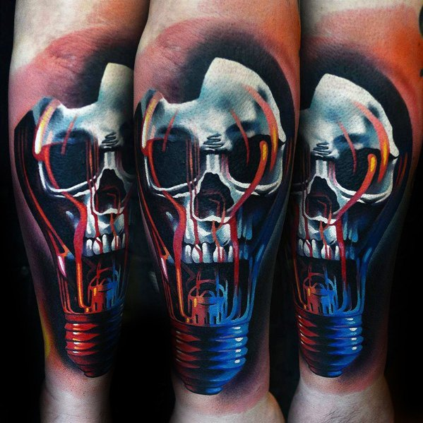 Antebrat 3d Badass Lightbulb Craniu Mens Tattoo Designs