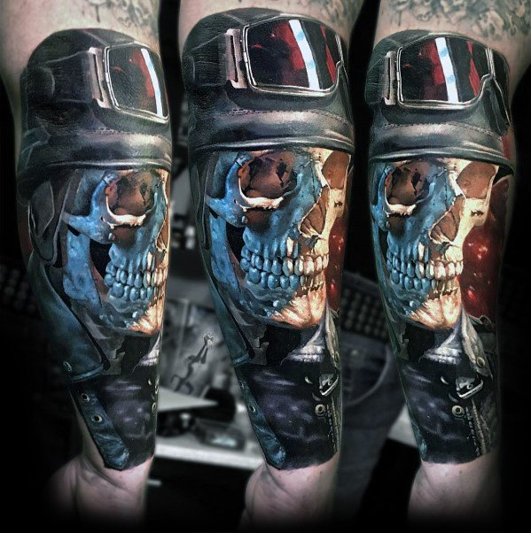 Guy Cu 3d Antebrat Badass Craniu Design Tattoo