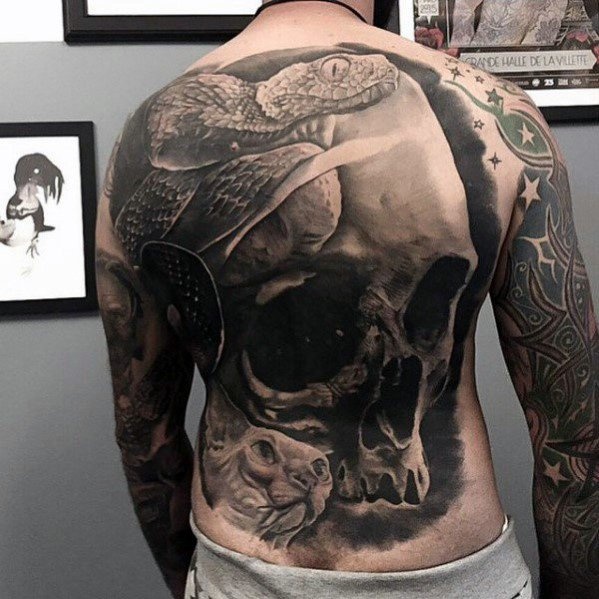 Masculin Cool Full Back Badass Craniu Tattoo Idei