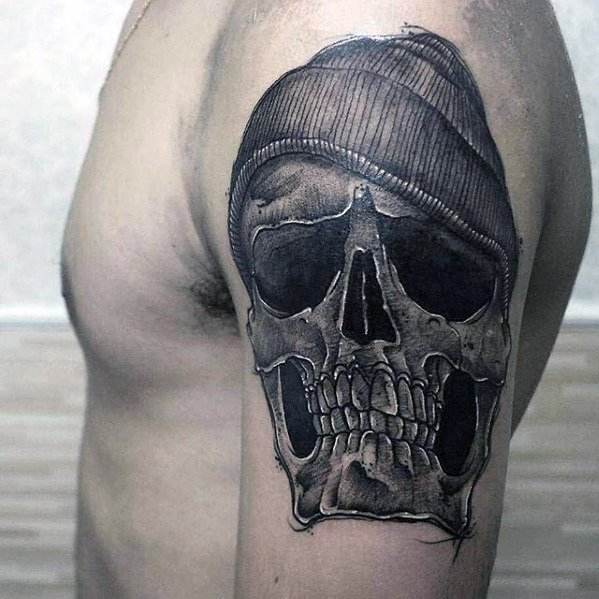 Mens Arm Tattoo Idei cu Badass Design craniu