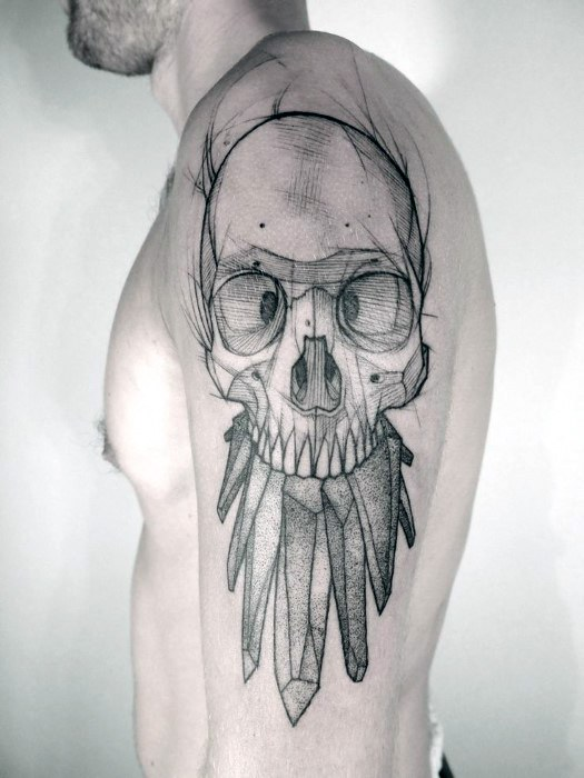 Mens Sketched Tattoo Badass Craniu Design