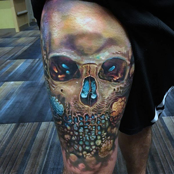 Thigh 3d Badass Skull Baieti Tattoo Designs