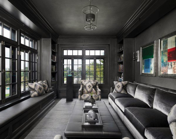 Grey Color Themed Cool Man Cave Ideas For Guys