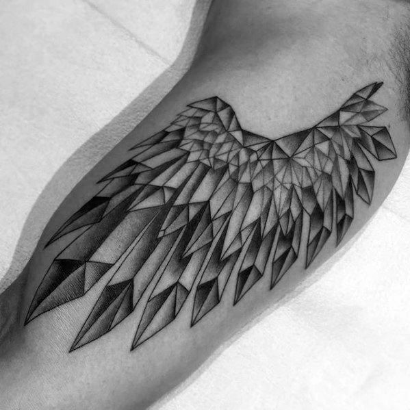 Inner Arm Bicep Mens Crystal Wing-tatoeages