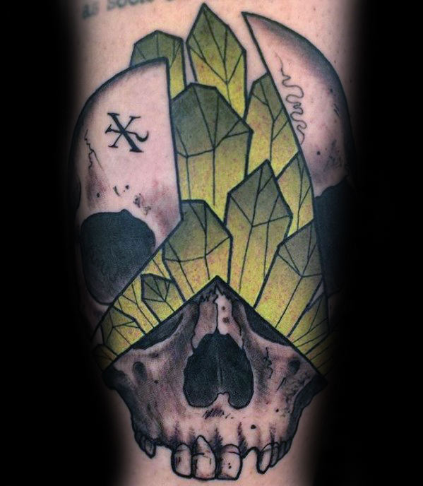 Skull With Green Crystals Guys Inner Forearm Tattoo