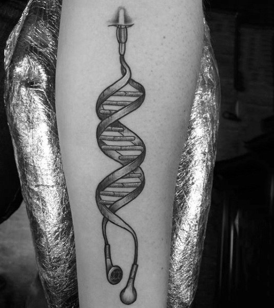 Dna Double Helix Headphone Tattoo Design On Man