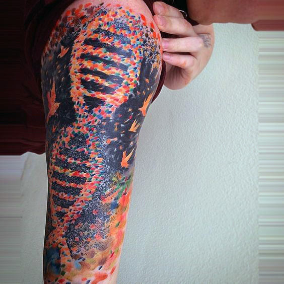 Full Color Abstract Male Dna Half Sleeve Tattoos