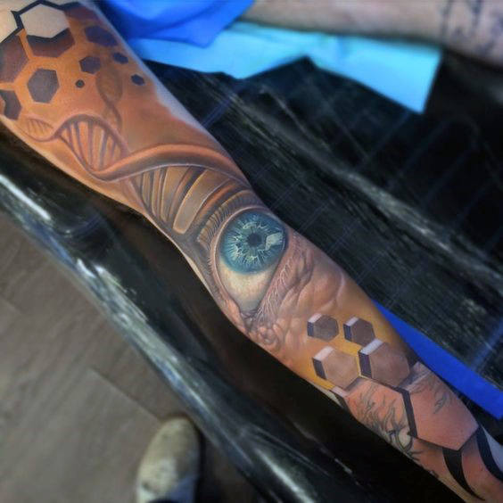 Illusion Eye Dna Sleeve Mens Tattoos