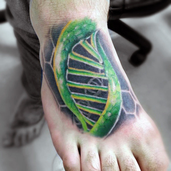 Mens Green Dna Strand Tattoo On Foot