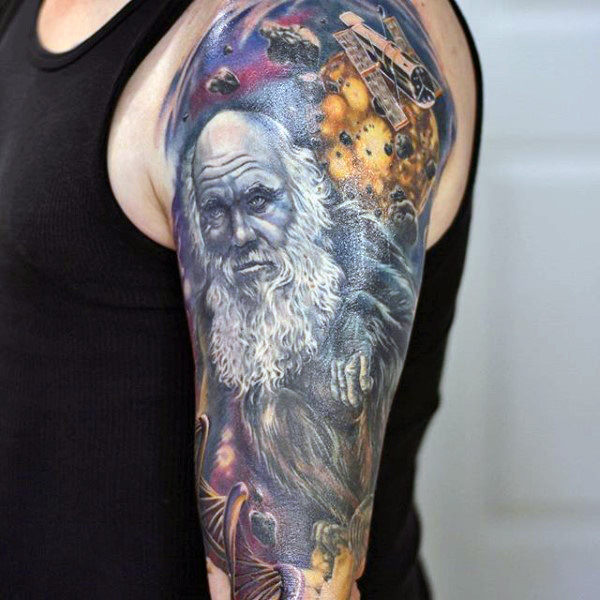 Charles Darwin Dna Tattoo Space Sleeve On Man