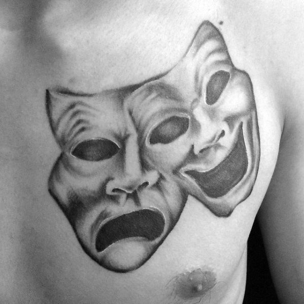Jungs Tattoo Ideen Drama Maske Vzory Shaded oberen Brust