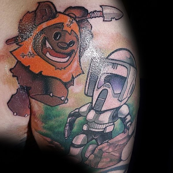 Man met koel Ewok Tattoo Design