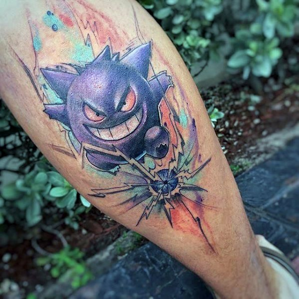 Watercolor Back Of Leg Mens Gengar Tattoo