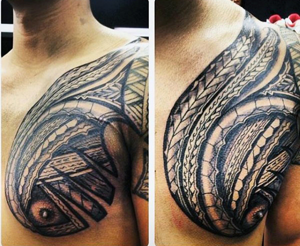 Vaikinas's Hawaiian Tribal Tattoos For Men On Chest