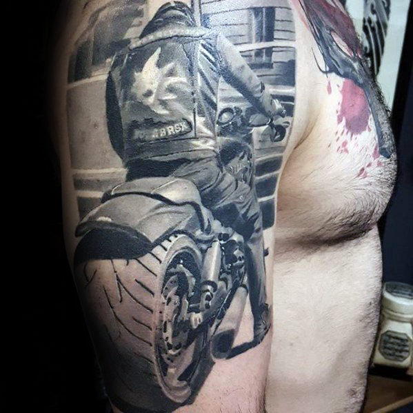 Arm 3d Motorcycle Rider Hyper Realistic Mens Tattoo
