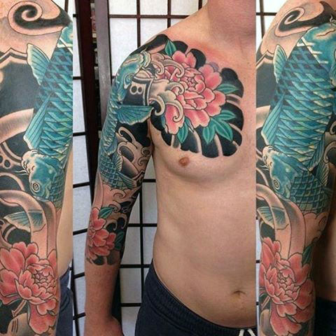 Guys Flower z Blue Koi Fish Japanese Tattoo Half Sleeve