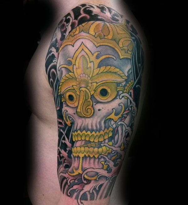Pół Rękawa Mens Gold Skull Japanese Tattoos