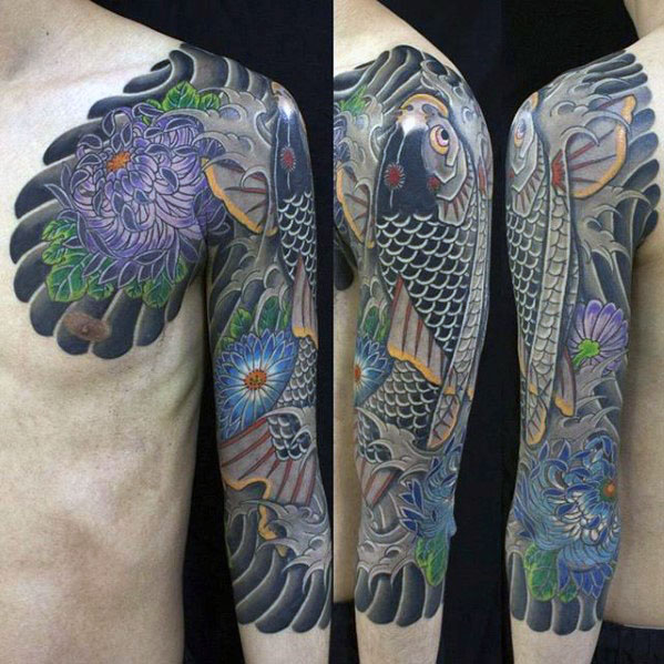 Koi Fish With Flowers Half Sleeve Japanese Tattoos For Men