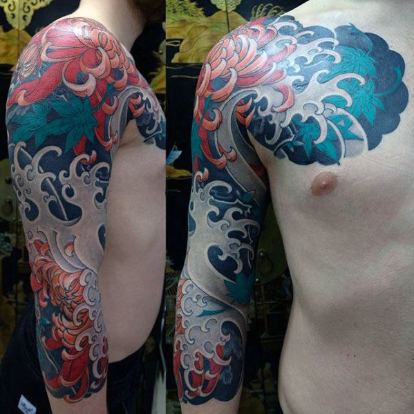 Manly Guys Half Sleeve Japanese Flower And Water Tattoos