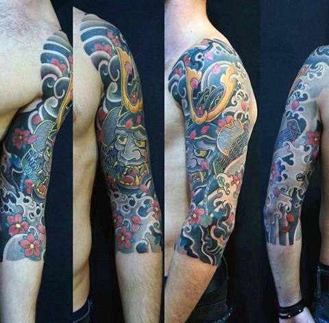 Samuari Helmet Japanese Guys Half Sleeve Tattoo