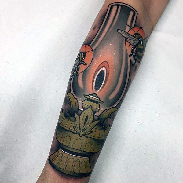 Forearm Mens Lantern Tattoo