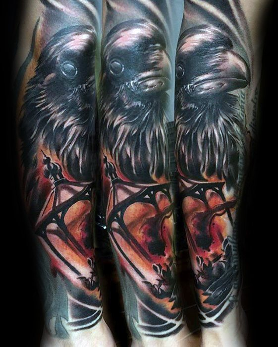 Gentleman With Lantern And Raven Bird Sleeve Attoo