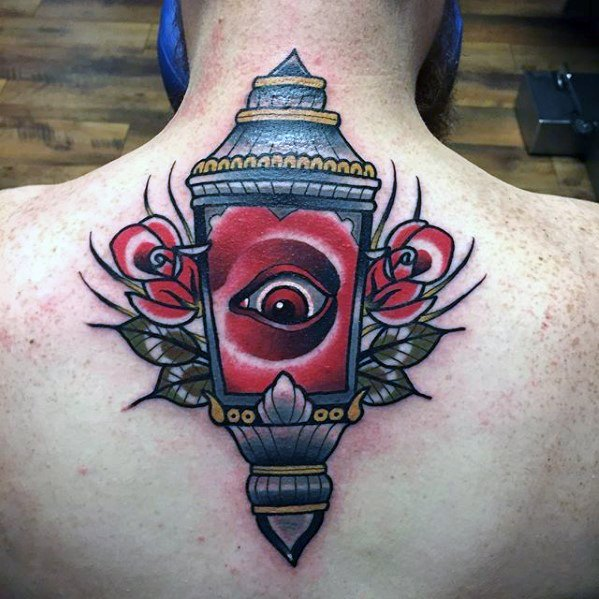 Guys Lantern Retro Traditional Back Back Tattoo Deisgns