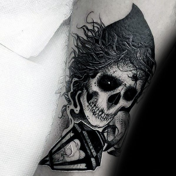 Mens Cool Lantern Grim Reaper Skull Arm Tattoo Ideas